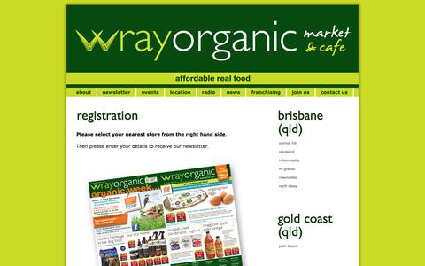 Screenshot of Signup Page wrayorganic.com.au - Wray Organic > join us - captured Oct. 2, 2014