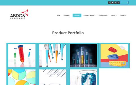 Screenshot of Products Page abdoslabware.com - Abdos Product Portfolio - captured Oct. 7, 2017