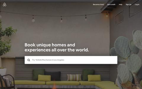 Screenshot of Home Page airbnb.com - Vacation Rentals, Homes, Experiences & Places - Airbnb - captured May 31, 2018
