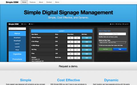 Screenshot of Home Page simpledsm.com - Simple Digital Signage Management Home - captured Sept. 30, 2014