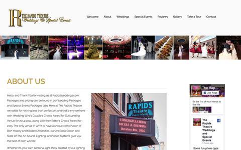 Screenshot of About Page rapidsweddings.com - Wedding Hall & Reception Hall | Wedding Catering Niagara Falls NY - captured Feb. 2, 2018