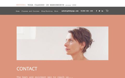 Screenshot of Contact Page whyoga.com - Contact | WHYOGA | Balham, Earlsfield, Wandsworth - captured April 7, 2017