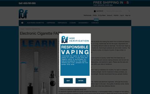 Screenshot of FAQ Page pufcigs.com - Electronic Cigarette FAQ Puf - captured Feb. 2, 2016