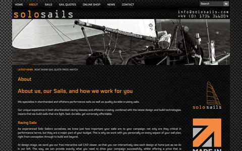 Screenshot of About Page solosails.com - Who We Are & What We Do | Solo Sails Sailmakers - captured Oct. 1, 2014