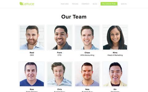 Screenshot of Team Page lettuceapps.com - Our Team | Lettuce - captured Sept. 16, 2014