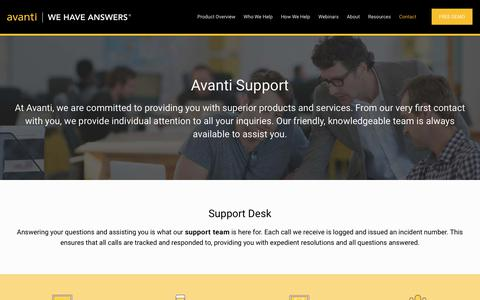 Screenshot of Support Page avantisystems.com - Support - Avanti Systems - captured Oct. 4, 2018
