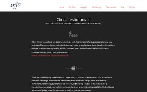 Screenshot of Testimonials Page mjc.is - Testimonials — Milton Jackson Creative - captured Oct. 27, 2014