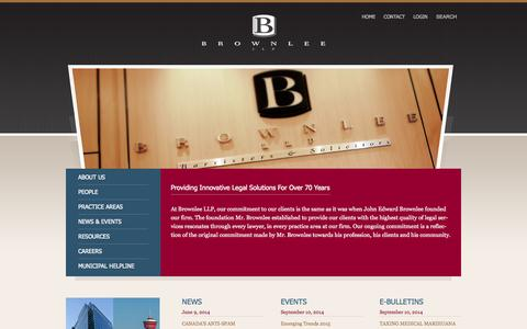 Screenshot of Home Page brownleelaw.com - Brownlee LLP - captured Oct. 5, 2014