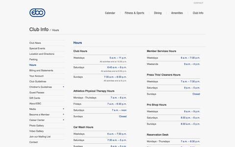 Screenshot of Hours Page eastbankclub.com - East Bank Club – Hours - captured Nov. 3, 2014