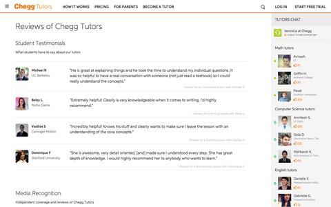 Screenshot of Testimonials Page chegg.com - Chegg Tutors Reviews | Real reviews of our tutors - captured May 9, 2017