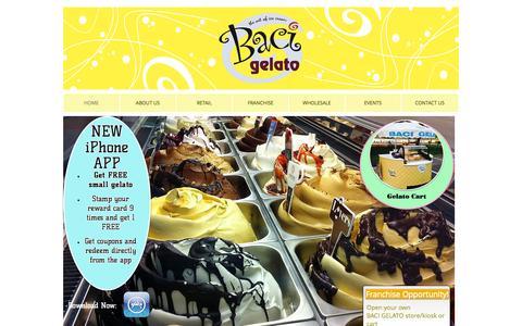 Screenshot of Home Page bacigelato.com - Baci Gelato - captured Sept. 30, 2014