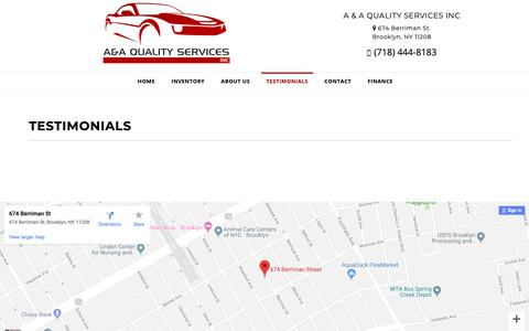 Screenshot of Testimonials Page aaqualitycars.com - Customer Testimonials - A & A QUALITY SERVICES INC BROOKLYN, NY - captured Sept. 30, 2018