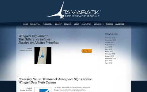 Screenshot of Press Page tamarackaero.com - News Archives - Tamarack® Aerospace Group, Inc. | Tamarack® Aerospace Group, Inc. - captured Oct. 9, 2014