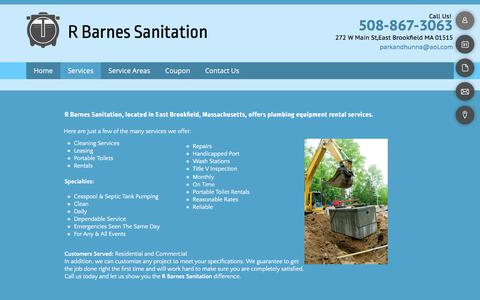 Screenshot of Services Page barnessanitation.com - Services — Brookfield, MA —Barnes R Sanitation - captured July 3, 2018
