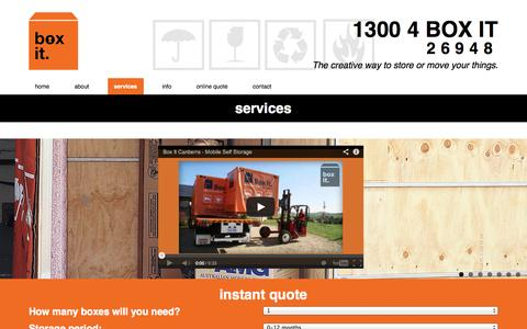 Screenshot of Services Page boxitcanberra.com.au - services - Box It Canberra - captured Oct. 5, 2014