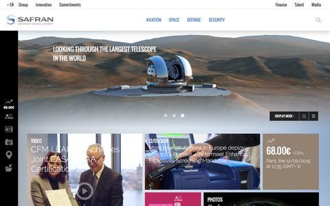 Screenshot of Home Page safran-group.com - Safran is a leading international high-technology group. - captured Dec. 2, 2015