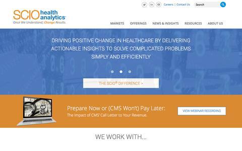 Screenshot of Home Page sciohealthanalytics.com - SCIO Health Analytics | Home - captured April 23, 2016