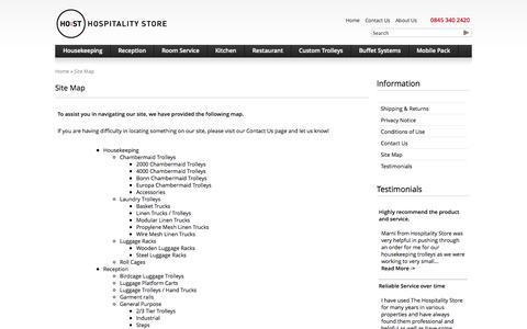 Screenshot of Site Map Page hospitalitystore.co.uk - Site Map : Hospitality Store, Largest Range of Service Trolleys in The UK - captured Nov. 2, 2014
