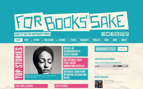 Screenshot of Home Page forbookssake.net - For Books' Sake - Books by and for Independent Women - captured Sept. 22, 2014