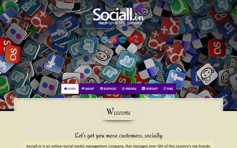 Screenshot of Home Page sociall.in - Social Media Marketing Social Media Marketing Company India Sociall.in - captured Oct. 9, 2014