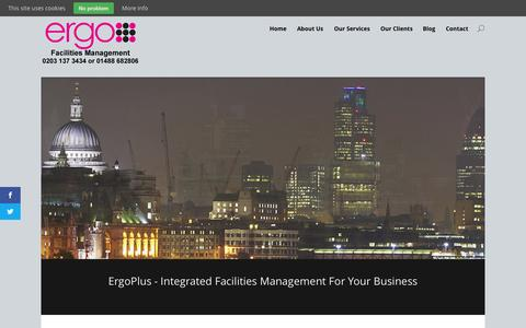 Screenshot of Home Page ergoplusfacilities.co.uk - ErgoPlus Facilities Management | Integrated Facilities Management For Your Business - captured June 19, 2015