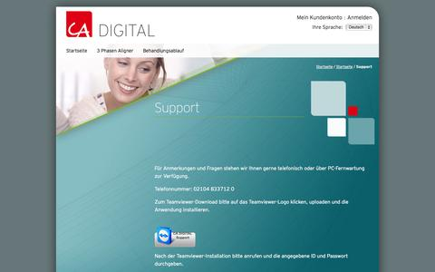 Screenshot of Support Page ca-digit.net - Support / CA DIGITAL - Deutsch - captured Nov. 1, 2014