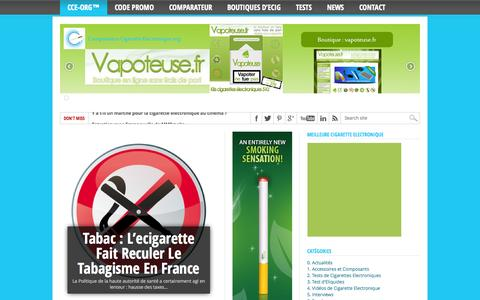 Screenshot of Home Page comparateur-cigarette-electronique.org - Cigarette Electronique | CCE-org™ - Comparatif et tests d'e-cigarettes - captured Oct. 1, 2014