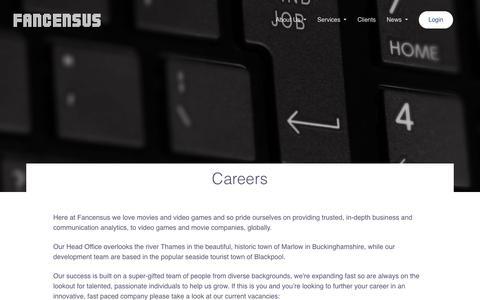 Screenshot of Jobs Page fancensus.com - Careers - captured Oct. 10, 2018