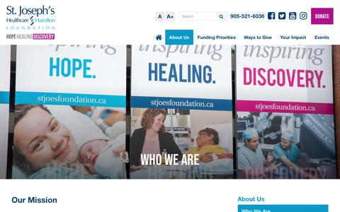 Screenshot of About Page stjoesfoundation.ca - Who We Are | St. Joseph's Healthcare Foundation - captured Oct. 18, 2018