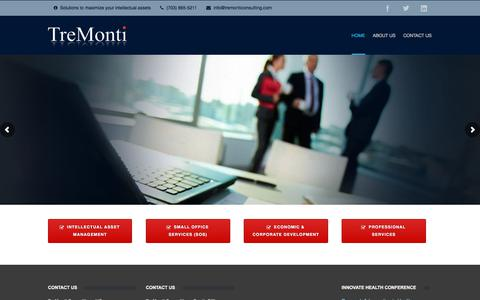 Screenshot of Home Page tremonticonsulting.com - TreMonti Consulting - Solutions to maximize your intellectual assets - captured July 12, 2019
