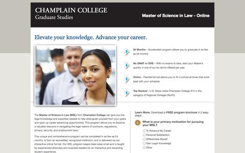 Screenshot of Landing Page champlain.edu - lp-elevate | Champlain Masters in Law - captured Oct. 27, 2014