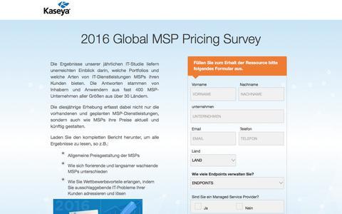 Screenshot of Landing Page kaseya.com - 2016 Global MSP Pricing Survey   Kaseya - captured May 5, 2018
