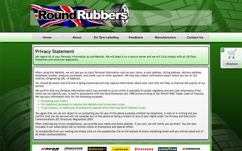 Screenshot of Privacy Page roundrubbers.com - Privacy Statement - Round Rubbers - captured Sept. 30, 2014