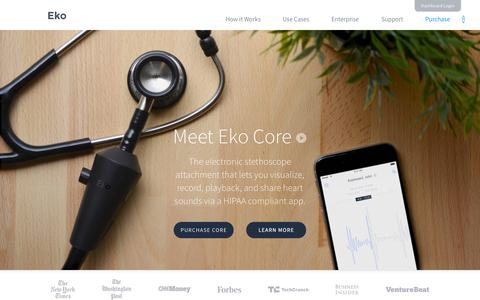 Screenshot of Home Page ekodevices.com - Eko | Electronic Stethoscope - captured Nov. 21, 2015