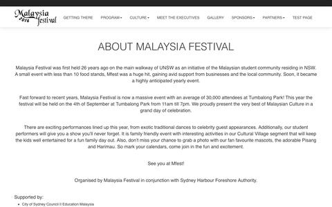 Screenshot of About Page malaysiafest.com.au - About 2016 | Malaysia Festival 2016 - captured Nov. 19, 2016