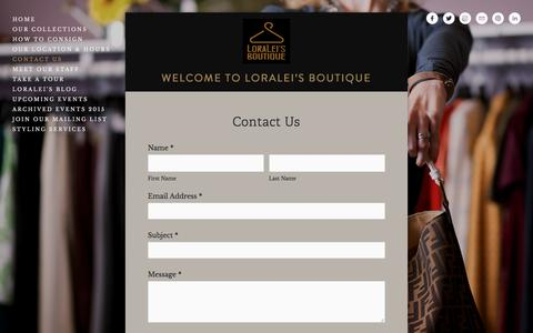 Screenshot of Contact Page loraleidayton.com - Contact Us — Loralei's Boutique - captured July 5, 2017