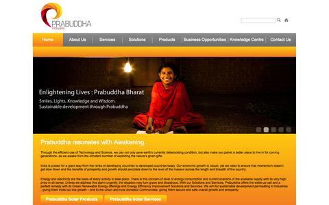 Screenshot of Home Page prabuddhaventures.com - Prabuddha - captured Oct. 2, 2014