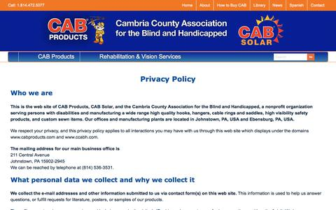 Screenshot of Privacy Page cabproducts.com - Privacy Policy - Cambria County Association for the Blind and Handicapped - captured Sept. 25, 2018