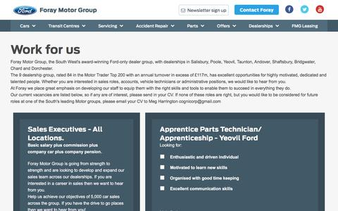 Screenshot of Jobs Page foraymotorgroup.co.uk - Work for us - captured Jan. 11, 2017