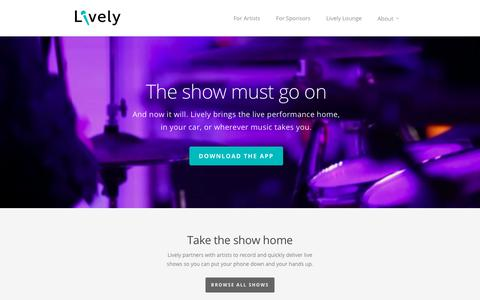 Screenshot of Home Page getlive.ly - Lively - captured Sept. 29, 2018