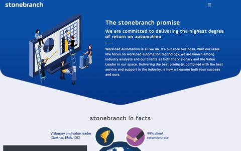 Screenshot of About Page stonebranch.com - Our Promise: Best Service and Support - captured Sept. 21, 2018