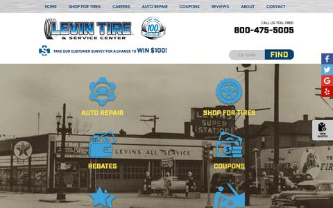 Screenshot of Home Page levintirecenter.com - Levin Tire & Service Center | Highland, IN Tires, Wheels, Auto Repair - captured Nov. 10, 2018