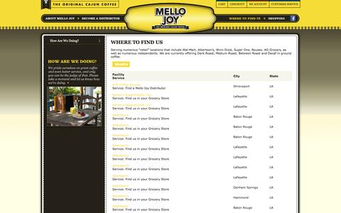 Screenshot of Locations Page mellojoy.com - Mello Joy | Where to Find Us - captured Nov. 28, 2016