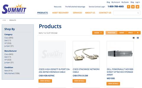 Screenshot of Products Page summitir.com - Our Products  | Summit Information Resources - captured Feb. 17, 2016