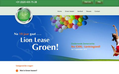 Screenshot of FAQ Page lionlease.nl - LionLease   –  FAQ - captured Sept. 30, 2014