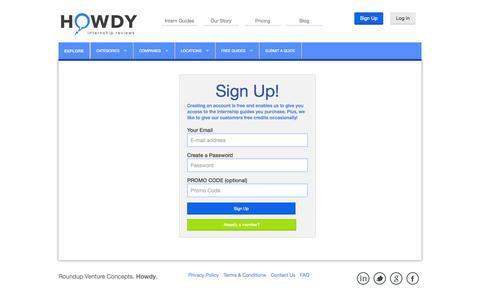 Screenshot of Signup Page howdyon.com - Signup - captured Sept. 30, 2014
