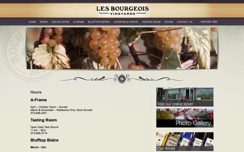 Screenshot of Hours Page missouriwine.com - Les Bourgeois Vineyards | Les Bourgeois Hours - captured Oct. 2, 2014
