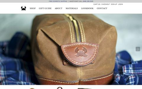 Screenshot of Home Page blueclawco.com - Blue Claw Co. Bags and Leather Accessories For Men  |  Made In The USA  | Weekender bags, Men's travel bags, and leather accessories. - captured Sept. 30, 2014