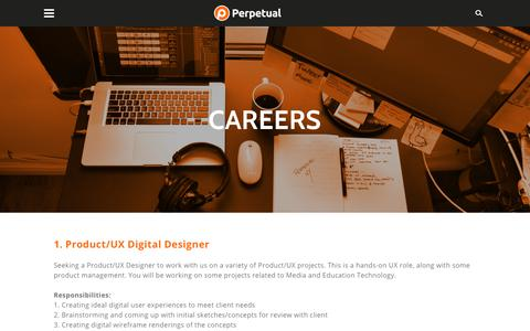 Screenshot of Jobs Page perpetualny.com - Careers - PERPETUAL - captured Sept. 27, 2018
