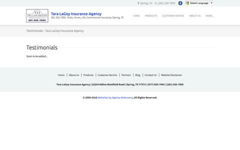Screenshot of Testimonials Page taralagoy.com - Testimonials - Tara LaGoy Insurance Agency - captured Dec. 1, 2016